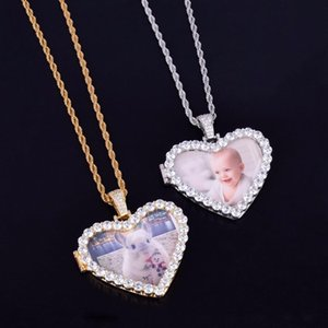 Luxury Zircon Huge Heart Pendant Necklace For Wedding Gift Custom Photos Available Environmentional Copper Necklace