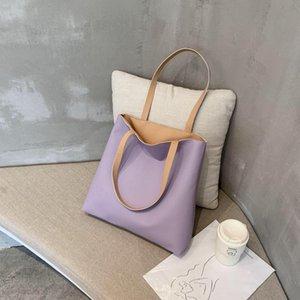 2021 novo couro macio um saco de ombro feminino balde de alta capacidade simples tote tote para trabalhar sacolas de bolsa Bump cor