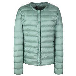 Winter Women Ultralight Thin Puffy Down Jacket O-Neck Button Warm Padded Parka Coat Female Portable Overcoat Chaqueta Mujer