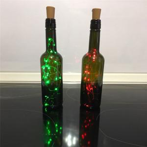 2m 20 leds luces de botella de vino Cork construido en batería LED Forma de corcho de plata Alambre de cobre de plata Colorido Fairy Mini String Lights GWE4454