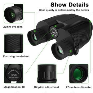 Yeni 10X25 dürbün HD All-optik Çift Yeşil Film Av Seyahat Spor Trekking Kuş izle koşum için su geçirmez dürbün Teleskop