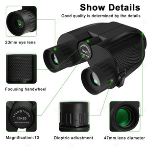 New 10X25 Binokel HD All-optische Doppel Green Film wasserdichtes Binokel-Teleskop für Jagd Reisen Sport Trekking Vogel Uhr Geschirr