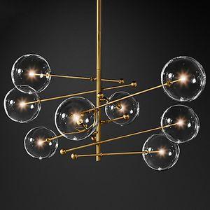 2020 chandelier bola design moderno vidro 6 cabeças lustre bolha lâmpada de vidro transparente para sala de estar cozinha preto luminária / gold