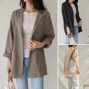 Autumn Womens Lapel Korea Blazer Long Sleeve Work Suit 2021 Ladies Cotton Coat ZANZEA Solid Color Pocket Short Suit Windbreaker