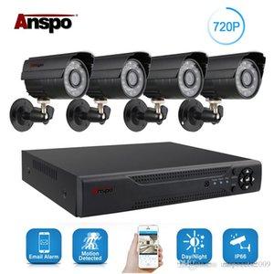 Anspo 4CH كيت كاميرا للرؤية نظام الأمن الرئيسية للماء مراقبة ليلة في الهواء الطلق كاميرا DVR CCTV 720P الرئيسية AHD أسود / أبيض IR-قص Ittv
