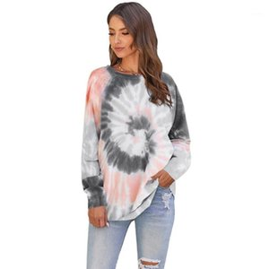 Ladies Fashion Spring Autumn Casual Irregular tie-dye Printing Round Neck Women's Top Pullover Top Sra. Moletons Com Capuz1
