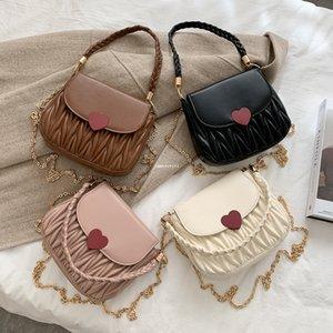 2021 New Children Love Hearts Bag Bag San Valentino Ragazze trapuntata con croce bolla Designer Donne Donne Catena in metallo Borsa A5532