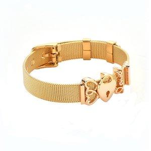 Stainless Steel Bracelet Crystal Heart Bracelet concise Bangle for Female Lover Woman Men Mesh Bracelet