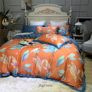King Queen 2 Size Bedding Set Duvet Cover Set Retro Bed Sheet + Duvet Cover + Pillowcase Cotton Bed Cover 4 Pieces Sets
