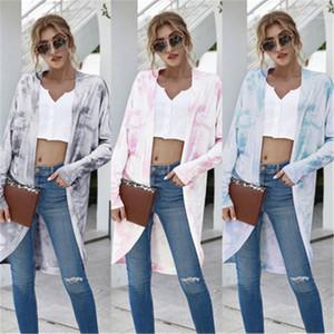 Pullover Jackets Designer Female Autumn Loose Slim Mid-length Outerwear Ladies Tie Dye Coats Fashion Trend Long Sleeve Cardigan Women