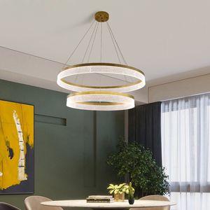 Modern Chandelier Multi-layer Combination Simple Ring Acrylic Lamp Shade Light Luxury Living room Restaurant Hotel Lights