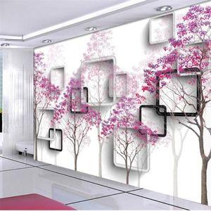 Customize Modern minimalist tree 3D TV background wall custom large mural green silk cloth wallpaper papel de parede para quarto