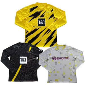 2020/21 # 9 Haaland Manga Longa Soccer Jersey # 7 Sancho Reyna uniforme mens # 11 reus brandt bellingham manga completa camisas de futebol