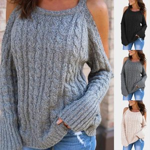 New Womens Long Sleeve Knitted Sweater High Quality Off Shoulder Pullovers Female Loose Sweater Knitted Warm Tops GAOKE