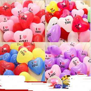 100pcs / lot que je t'aime Lettres Chef Heart Balloon Proposition Ballons pour Valentines Day Mariage Ornement Fournitures de mariage Fournitures 12 pouces E122310