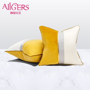 Avigers Velvet Leather Patchwork Cushion Covers Navy Blue Yellow Gray Throw Pillow Cases for Living Room Bedroom Sofa Car