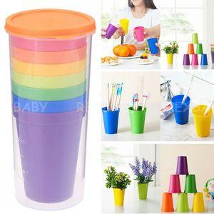 7Pcs set Mug Plastic Cups Water Bottle Set Of 8 Reusable Picnic Travel Trendy Funny Portable Rainbow Suit Cup Party Kids Drink Cup