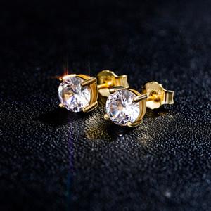 4-8mm Hip Hop Boucles d'oreilles Brillante S925 Argent Sterling Stud bling blanc Zircon Boucles d'oreilles diamant plaqué or 18 carats Pierre Bijoux en gros