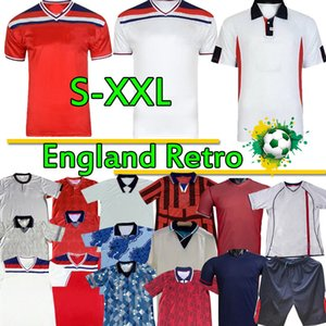 Retro Classic Soccer Jerseys England National Team Beckham Gascoignese Owen Gerrard 1982 89 90 92 94 96 98 2002 Camicie da calcio Uniformi Top