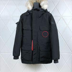 Высочайшее качество зимнего пальто вниз куртка для мужчин для мужчин с настоящим волком мех с капюшоном Parka Parka Parka Designer Maya