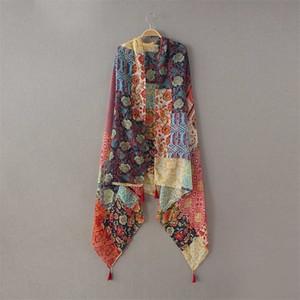 Bayanlar Moda Afrika Etnik Patchwork Çiçek Püskül Viskon Şal Eşarp Kış Susturucu Kafa Fular Sjaal Wrap Hicap Snood Y201007