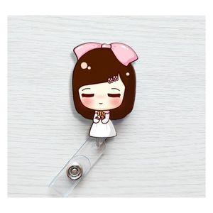 Cute Korea Badge Reel Retractable Pull Buckle Id Card Badge Holder Reels Belt Clip Hospital School Office Supplies jllVTY bdebag