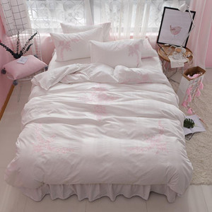 Free shipping 100%cotton simple embroidery princess bedding set 3 4pcs twin full queen king size bed skirt set MR