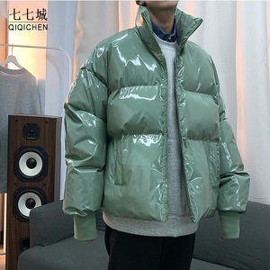Qiqichen Mens Streetwear Winter Winter Glossy Bubble Vestes 2021 Mens Harajuku Hôtel Chaud HOP HOP Parka Mâle Coréen Fashions manteau Puffer