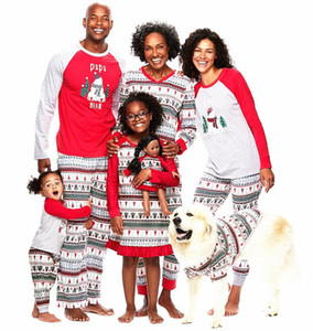 Family Christmas Pajamas New Year Family Matching Outfits Mother Father Kids BabyClothes SetsXmas Snowman Printed PajamasSleepwear WY928 ZWL