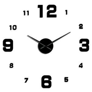 Número grande Frameless Diy Relógio de parede Mute Espelho Stickers Modern gigante relógio de parede não Ticking para sala de estar Quarto Cozinha wmtlTW