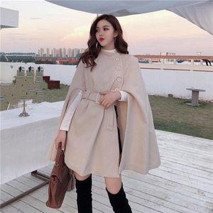 Женская шерсть смешивается осень зима французская ретро панк леди плащщик пальто женские модные уличные корейский стиль свободно элегантные платья шалов