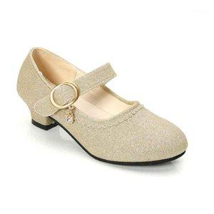 Girls Glitter кожаные туфли на высоком каблуке принцесса платье обувь весна осень латинские танцевальные ботинки свадьба свадьба элегантные сандалии 27-371
