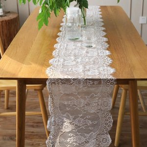 1pcs 35x300cm White Floral Lace Table Runner Black Table Cover Chair Sash For Banquet Baptism Wedding Party Table De jllYJQ