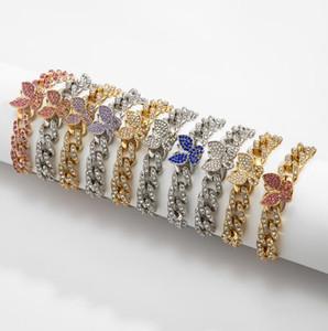 Pulsera de congelación de diamante de cristal púrpura Mujer Swarovski Pulsera de cristal rosa Bridal Golden Crystal Rhinestone Lady pulsera al por mayor