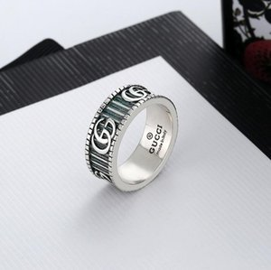 2020 the newluxury jewelry men rings antique silver G designer rings engraved with stripe titanium steel engagement rings with box