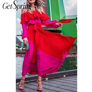 GetSpring Women Dress Slash Off Shoulder Dresses Evening Party Dress Plus Size Summer Dresses Bandage Pleated Long Red Dress 201015