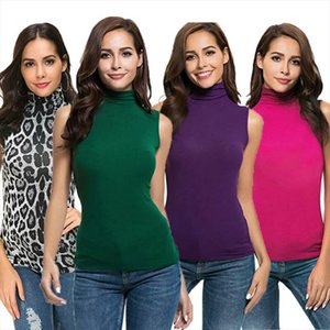 Turtle Neck Top Ladies Women Ladies Sleeveless T Shirt Plain Stretch Vest Bodycon Tops Drop Shipping