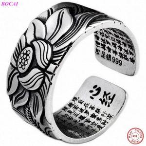 BOCAI S999 чистого серебра кольца лотоса сердца тайский серебряное кольцо ретро мужчин ювелирных изделий лотоса широкий версия регулируемый размер кольца 201110