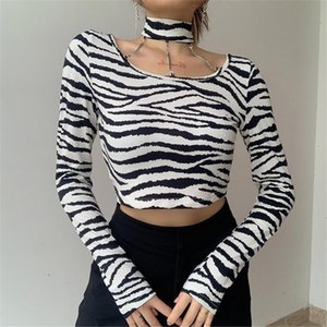 Spring Autumn Women Stylish Long Sleeve Zebra Stripe Tunic Fashion Crop Tops Shopping Daily Wear Fashion Casual Halter T Shirts