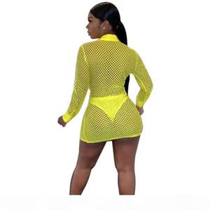 knit dresses sexy woman beach wear comfy dress resort summer transparent dress Knitted mesh V neck sexy fashion dress