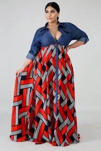 V-Neck Big balanço das mulheres Vestidos mola solta Estilo Retro Além disso Outono Casual Color Contrast Mulheres Designer Vestido