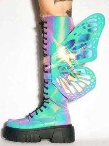 Женщины платформы сапоги Красочные крылья бабочки Колено сапоги крест вязаные туфли на платформе Transparent Bling Botas Mujer Party Club Обувные
