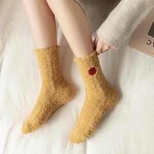 Cute Winter Women Socks Ladies Floor Slippers Warm Soft Fluffy Bed Socks Home Floor Coral Velvet Fleece Sock Winter Boots