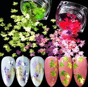 Fogli di caduta Nail paillettes glitter, Holographic Maple Leaf Nail di arte del chiodo di scintillio fiocchi Confetti arte acrilica alimentazione