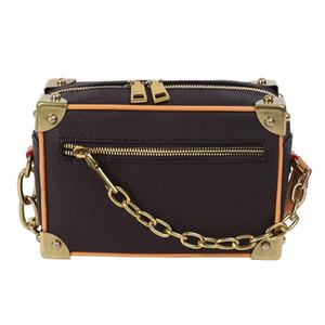 Sacs de mode Mini coffre molle sac carré sac à bandoulière en cuir véritable Sac à bandoulière pour femmes Sacs de chaîne Cross Body Sac