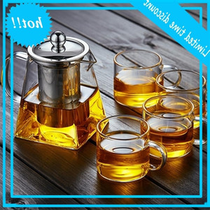 350ml High temperature Resistance Tea Set Heat resistant Glass Stainless Steel Filtering Square Flower Teapot with fast ship