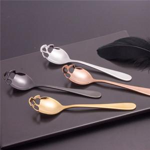 2020 nuevo estilo de cucharas de acero inoxidable cráneo hueco agitación café cucharas cucharilla creativo condimento cuchara T9I00669