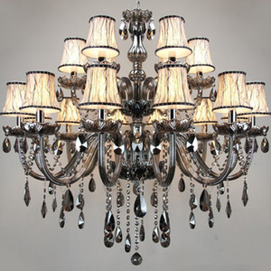 Free Shipping Smoky grey fashion of luxury Large crystal Chandelier light living room lights Modern Crystal Chandelier lighting