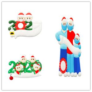 2020 Christmas Ornament Quarantine Survivor Family Name Kit, 1-7 Family Members Customized Christmas Decorating Set DIY Creative Gift