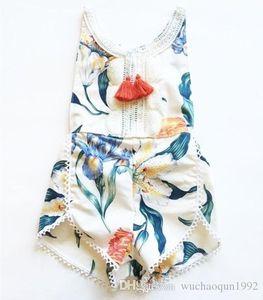 INS Baby Tassel Romper Jumpsuits summer toddler kids floral printed kids clothing floral bodysuit romper girls cotton shorts jumpsuit